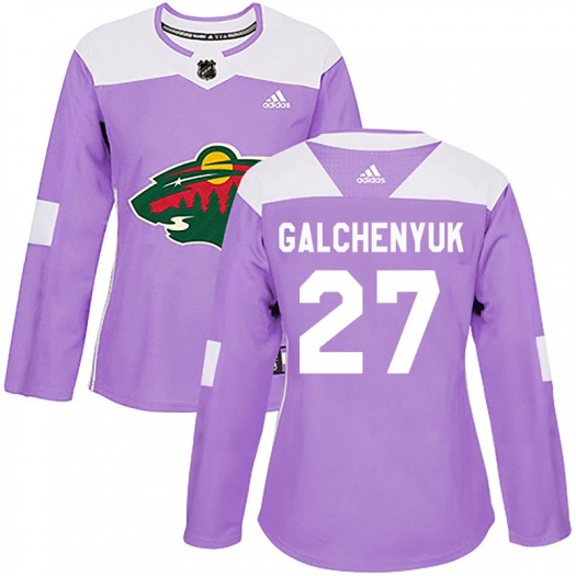 Alex Galchenyuk Minnesota Wild Women's Adidas Authentic Purple Fights Cancer Practice Jersey
