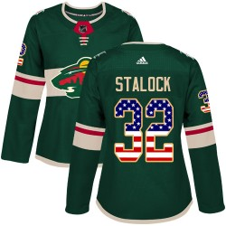 Alex Stalock Minnesota Wild Women's Adidas Authentic Green USA Flag Fashion Jersey
