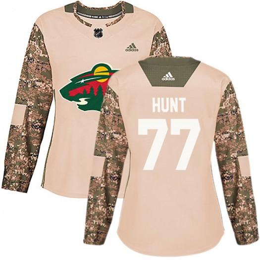 Brad Hunt Minnesota Wild Women's Adidas Authentic Camo Veterans Day Practice Jersey