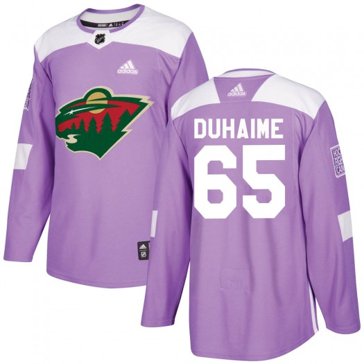 Brandon Duhaime Minnesota Wild Youth Adidas Authentic Purple Fights Cancer Practice Jersey