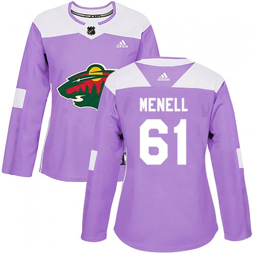 Brennan Menell Minnesota Wild Women's Adidas Authentic Purple ized Fights Cancer Practice Jersey