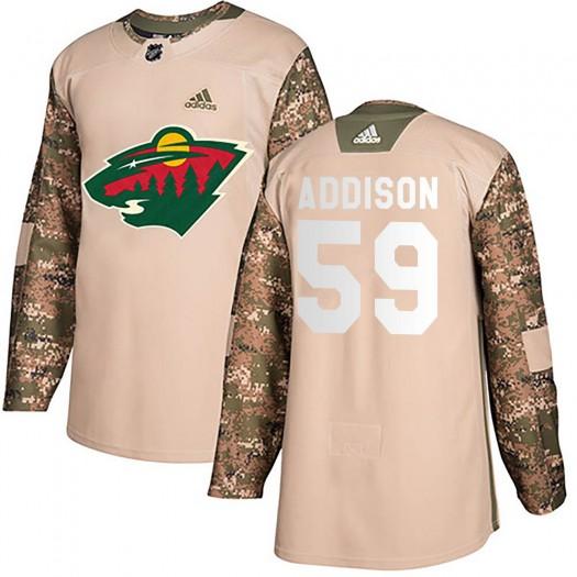 Calen Addison Minnesota Wild Youth Adidas Authentic Camo Veterans Day Practice Jersey