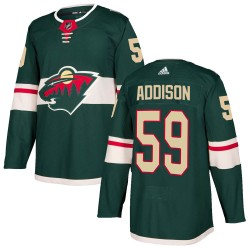 Calen Addison Minnesota Wild Youth Adidas Authentic Green Home Jersey