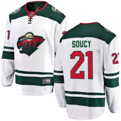 Carson Soucy Minnesota Wild Men's Fanatics Branded White Breakaway Away Jersey