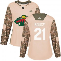 Carson Soucy Minnesota Wild Women's Adidas Authentic Camo Veterans Day Practice Jersey