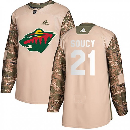 Carson Soucy Minnesota Wild Youth Adidas Authentic Camo Veterans Day Practice Jersey