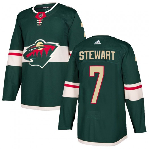 Chris Stewart Minnesota Wild Youth Adidas Authentic Green Home Jersey