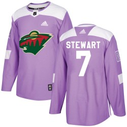 Chris Stewart Minnesota Wild Youth Adidas Authentic Purple Fights Cancer Practice Jersey