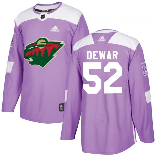 Connor Dewar Minnesota Wild Youth Adidas Authentic Purple Fights Cancer Practice Jersey