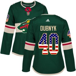 Devan Dubnyk Minnesota Wild Women's Adidas Authentic Green USA Flag Fashion Jersey
