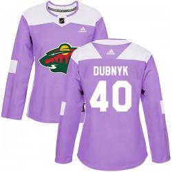 Devan Dubnyk Minnesota Wild Women's Adidas Authentic Purple Fights Cancer Practice Jersey