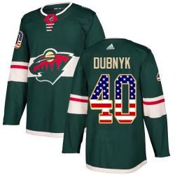 Devan Dubnyk Minnesota Wild Youth Adidas Authentic Green USA Flag Fashion Jersey