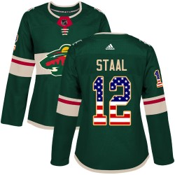 Eric Staal Minnesota Wild Women's Adidas Authentic Green USA Flag Fashion Jersey
