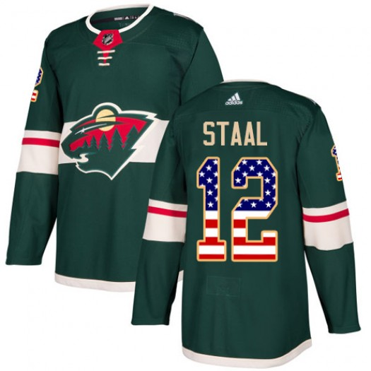 Eric Staal Minnesota Wild Youth Adidas Authentic Green USA Flag Fashion Jersey