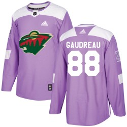 Frederick Gaudreau Minnesota Wild Youth Adidas Authentic Purple Fights Cancer Practice Jersey