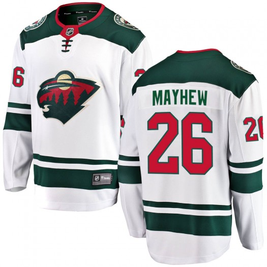 Gerald Mayhew Minnesota Wild Men's Fanatics Branded White ized Breakaway Away Jersey
