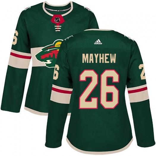Gerald Mayhew Minnesota Wild Women's Adidas Authentic Green ized Home Jersey