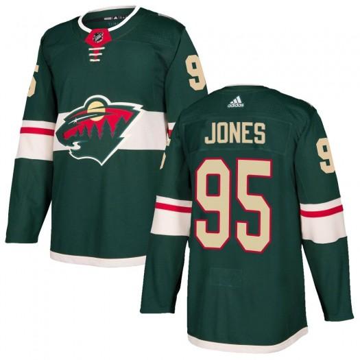 Hunter Jones Minnesota Wild Men's Adidas Authentic Green Home Jersey