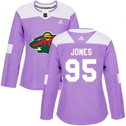 Hunter Jones Minnesota Wild Women's Adidas Authentic Purple Fights Cancer Practice Jersey