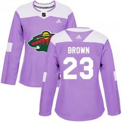 J.T. Brown Minnesota Wild Women's Adidas Authentic Purple Fights Cancer Practice Jersey