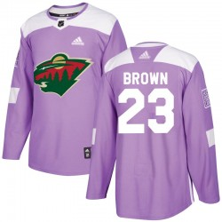 J.T. Brown Minnesota Wild Youth Adidas Authentic Purple Fights Cancer Practice Jersey