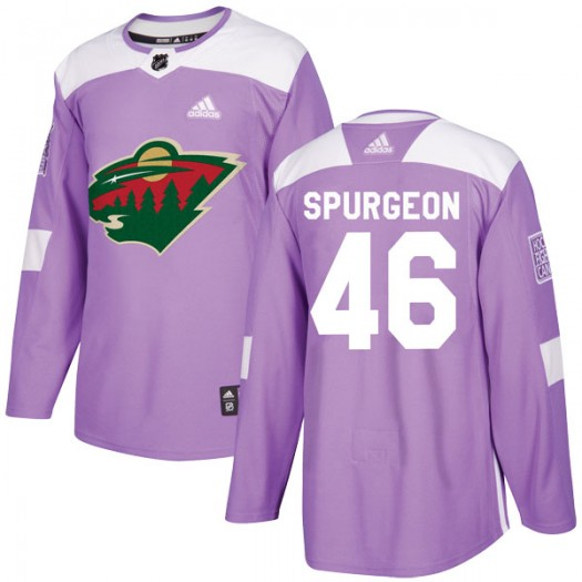 Jared Spurgeon Minnesota Wild Men's Adidas Authentic Purple Fights Cancer Practice Jersey