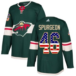 Jared Spurgeon Minnesota Wild Youth Adidas Authentic Green USA Flag Fashion Jersey