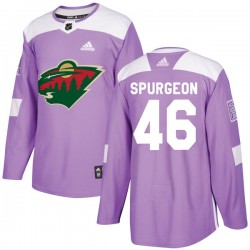 Jared Spurgeon Minnesota Wild Youth Adidas Authentic Purple Fights Cancer Practice Jersey