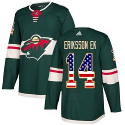 Joel Eriksson Ek Minnesota Wild Men's Adidas Authentic Green USA Flag Fashion Jersey