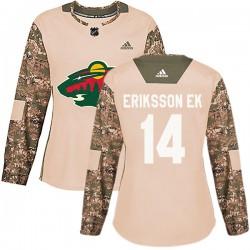 Joel Eriksson Ek Minnesota Wild Women's Adidas Authentic Camo Veterans Day Practice Jersey