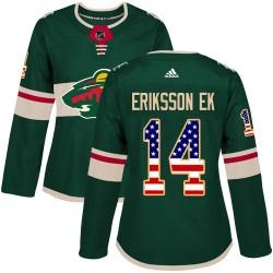 Joel Eriksson Ek Minnesota Wild Women's Adidas Authentic Green USA Flag Fashion Jersey