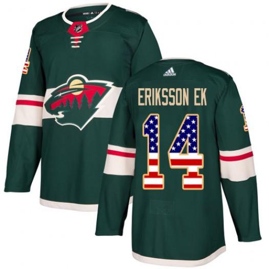 Joel Eriksson Ek Minnesota Wild Youth Adidas Authentic Green USA Flag Fashion Jersey