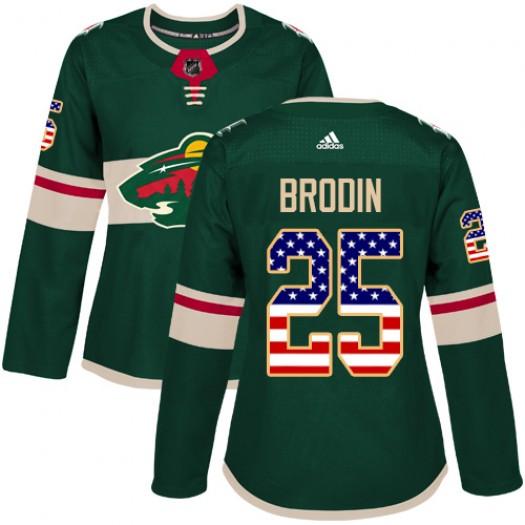 Jonas Brodin Minnesota Wild Women's Adidas Authentic Green USA Flag Fashion Jersey
