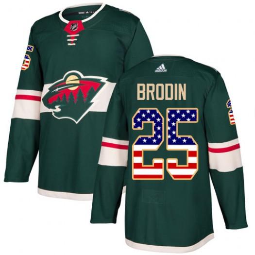 Jonas Brodin Minnesota Wild Youth Adidas Authentic Green USA Flag Fashion Jersey