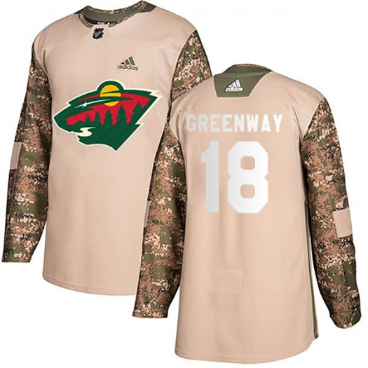 Jordan Greenway Minnesota Wild Men's Adidas Authentic Green Camo Veterans Day Practice Jersey