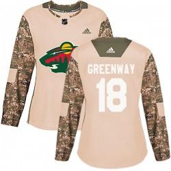 Jordan Greenway Minnesota Wild Women's Adidas Authentic Green Camo Veterans Day Practice Jersey