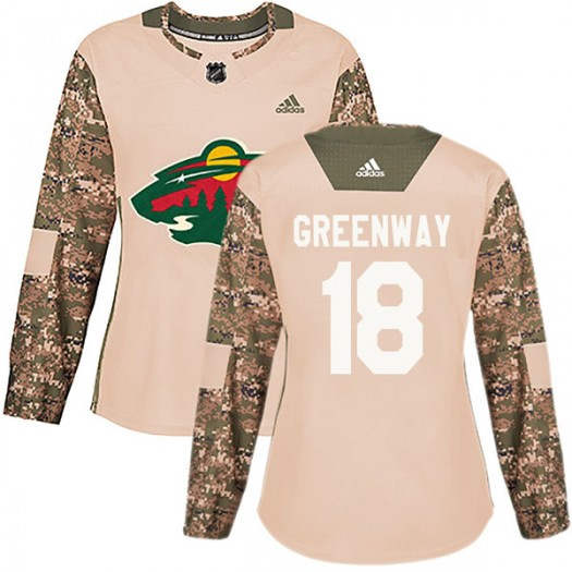 Jordan Greenway Minnesota Wild Women's Adidas Authentic Green Camo Veterans Day Practice Jersey