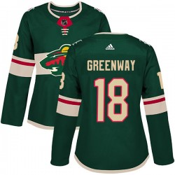 Jordan Greenway Minnesota Wild Women's Adidas Authentic Green Home Jersey