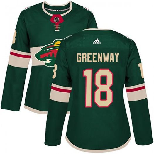 Jordan Greenway Minnesota Wild Women's Adidas Authentic Green Home Jersey
