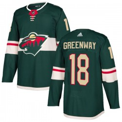 Jordan Greenway Minnesota Wild Youth Adidas Authentic Green Home Jersey