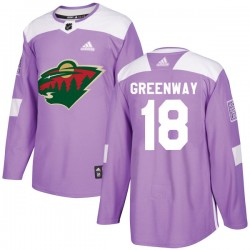 Jordan Greenway Minnesota Wild Youth Adidas Authentic Purple Fights Cancer Practice Jersey