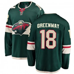 Jordan Greenway Minnesota Wild Youth Fanatics Branded Green Breakaway Home Jersey