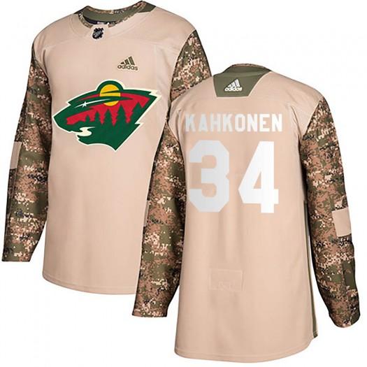 Kaapo Kahkonen Minnesota Wild Men's Adidas Authentic Camo Veterans Day Practice Jersey