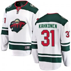 Kaapo Kahkonen Minnesota Wild Men's Fanatics Branded White Breakaway Away Jersey