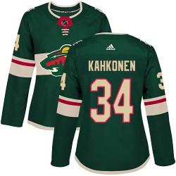 Kaapo Kahkonen Minnesota Wild Women's Adidas Authentic Green Home Jersey