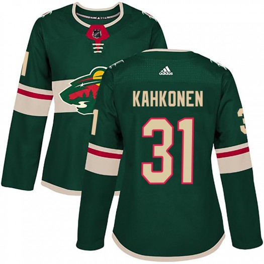 Kaapo Kahkonen Minnesota Wild Women's Adidas Authentic Green Home Jersey