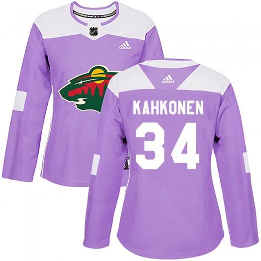 Kaapo Kahkonen Minnesota Wild Women's Adidas Authentic Purple Fights Cancer Practice Jersey
