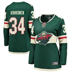 Kaapo Kahkonen Minnesota Wild Women's Fanatics Branded Green Breakaway Home Jersey