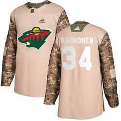 Kaapo Kahkonen Minnesota Wild Youth Adidas Authentic Camo Veterans Day Practice Jersey