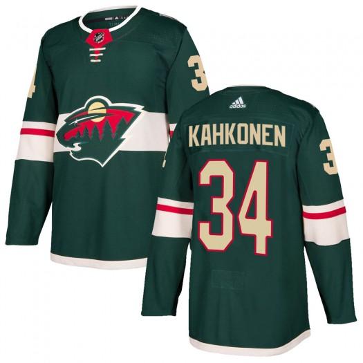Kaapo Kahkonen Minnesota Wild Youth Adidas Authentic Green Home Jersey